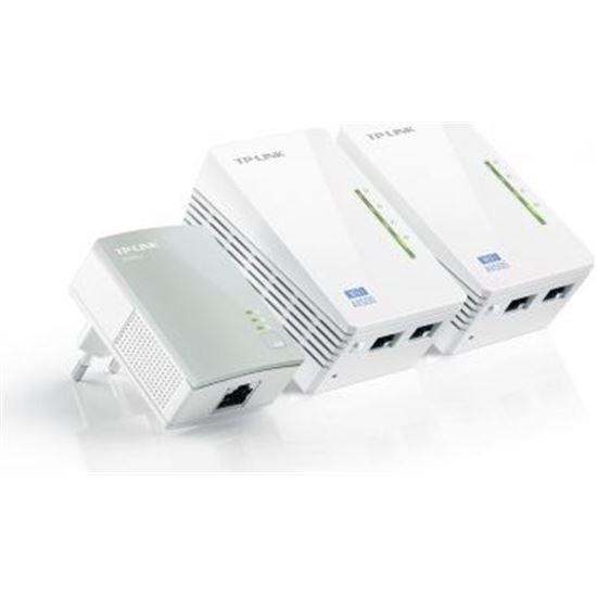PACK DE 3 ADAPTADORES PLC/POWERLINE  2 X ETHERNET 500MBPS 1 X WIFI 300MBPS