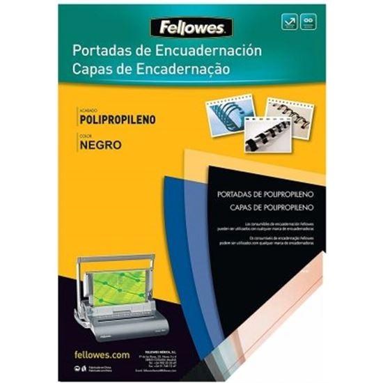 PACK DE 100 PORTADAS DE POLIPROPILENO NEGRAS FELLOWES 54772 - TAMAÑO A4 - 5