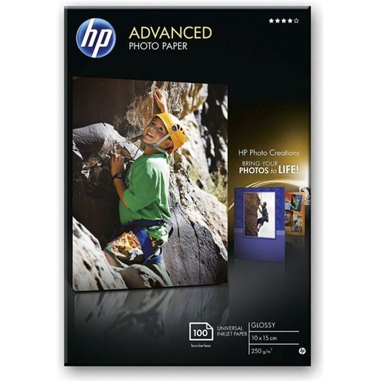 PAPEL HP FOTO GLOSSY ADVANCED SATINADO 10X15 CM 250 G/M2 100 (HOJAS)