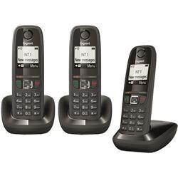 TELÉFONO DECT GIGASET AS 405 TRÍO - AS405 + 2 SUPLETORIOS - AGENDA 100 REGI