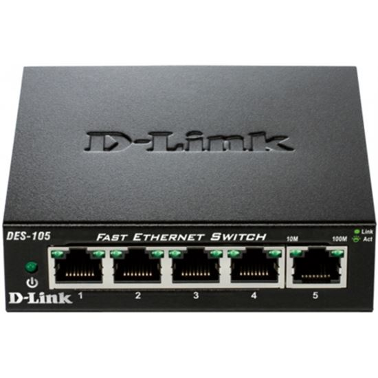 SWITCH D-LINK DES-105 - 5 PUERTOS 10/100 - AUTO MDI/MDIX - PLUG AND PLAY
