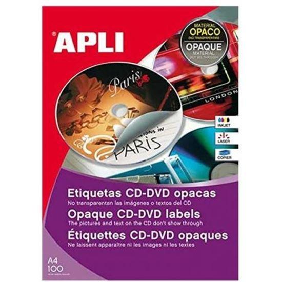 ETIQUETAS APLI 10294 PARA CD-DVD MEGA CON DORSO OPACO - 100 HOJAS - 300 ETI
