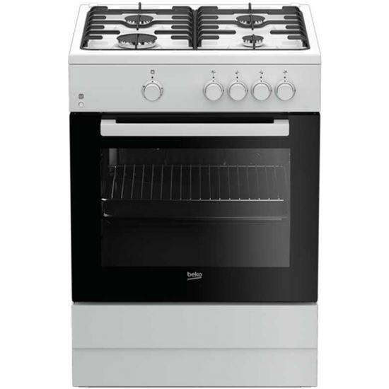 Cocina conv. Beko FSG62000DWL, 4fuegos - Gas/Gas